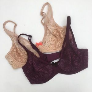 2!! VS Body By Victoria Lace Unlined Demi Bras